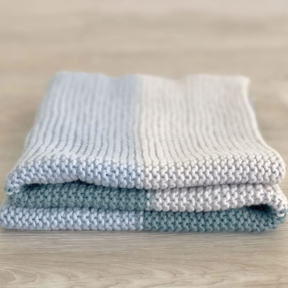 simple knit baby blanket in smooth merino