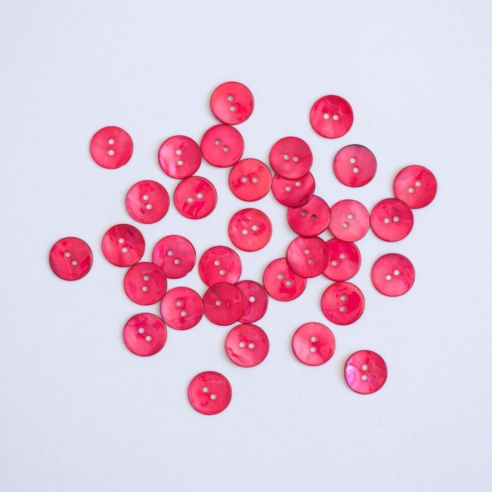 Hand Dyed Shell buttons by the Woven in Raspberry