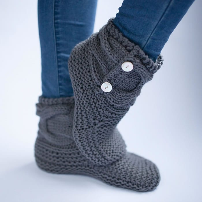 Simple Knit Slipper Booties Free Pattern The Woven