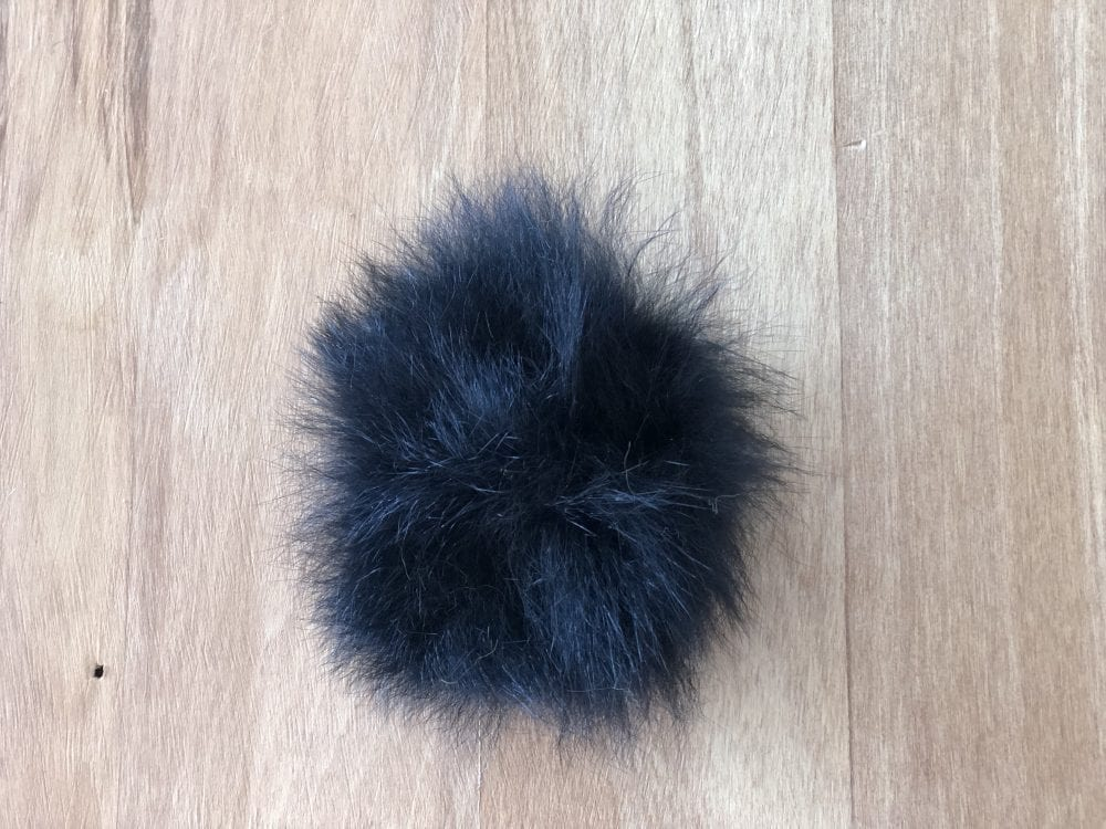 Black Possum Fur Pom Pom by The Woven Co