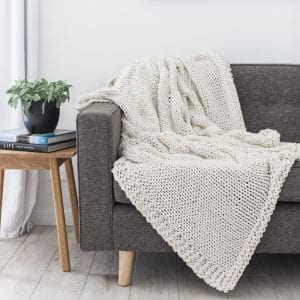 Chunky knit blanket in JOY chunky yarn by The Woven Co