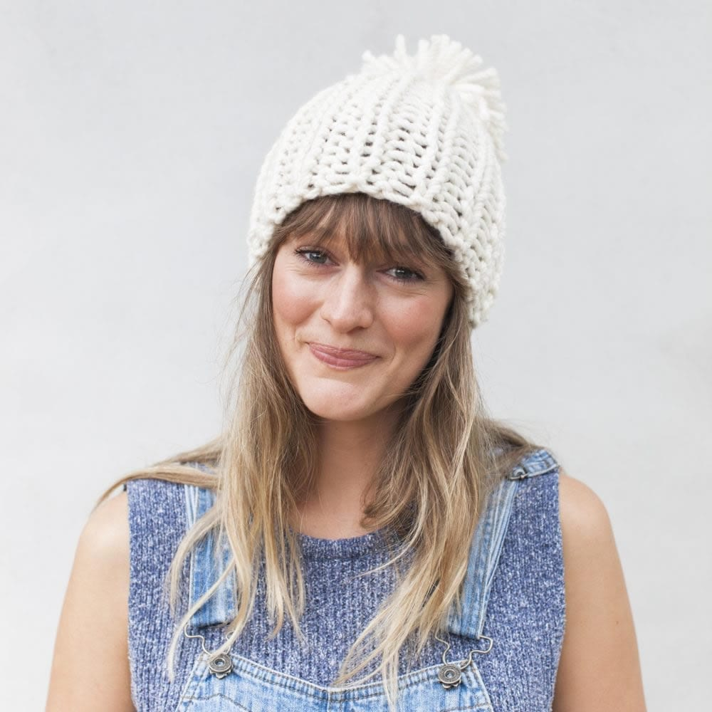 Chunky knit hat in JOY chunky yarn by The Woven Co