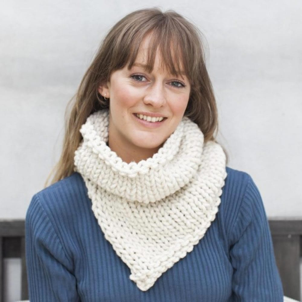 Chunky knit snood in JOY chunky yarn by The Woven Co