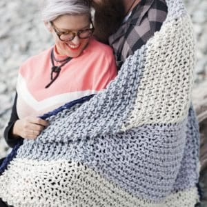 Giant knitted chunky blanket in JOY by the woven co