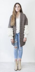 Soft and Chunky Knit Cardigan Cream Puff