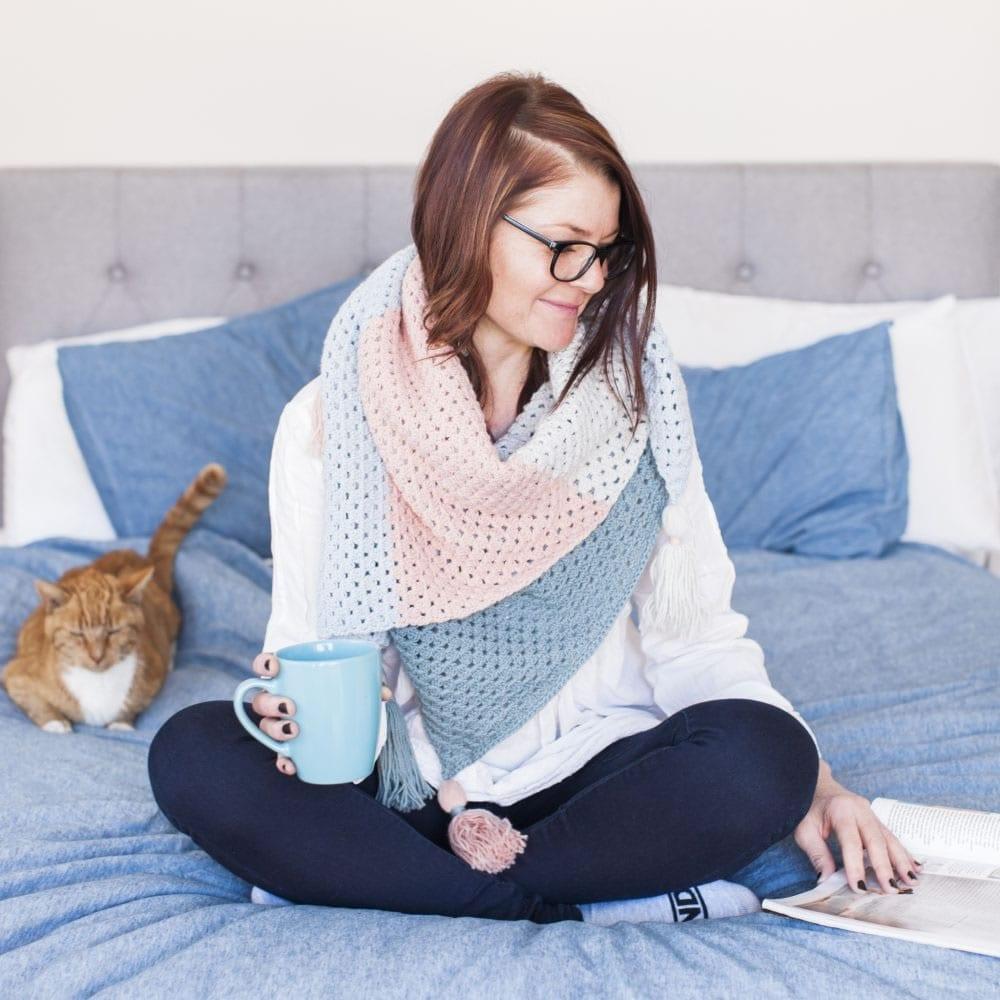 Scandi Crochet Blanket Wrap by The Woven co