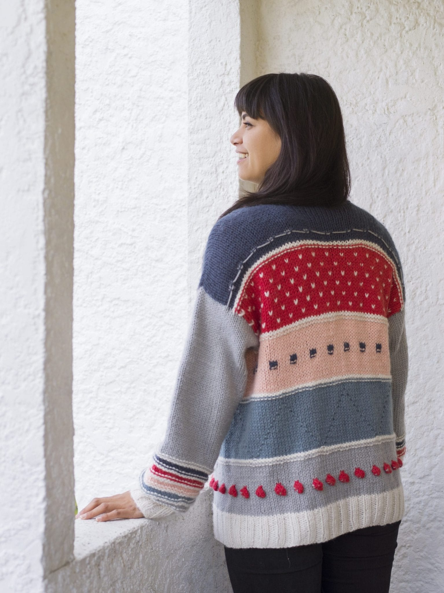 The Woven Mixed Tape Cardigan Knitting Pattern knit kit